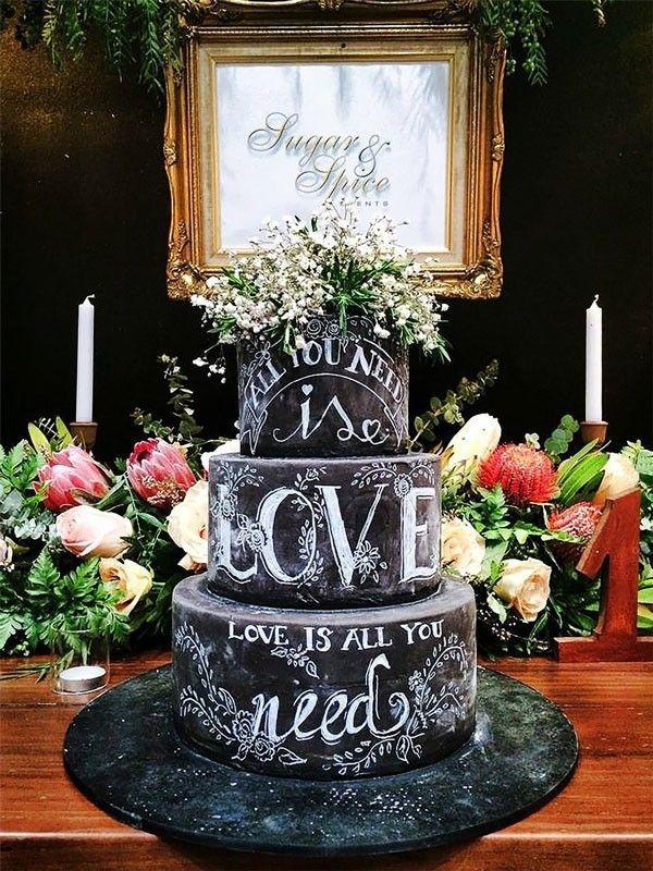 This Chalkboard Wedding Cake Featuring Beatles' Lyrics is Perfect
