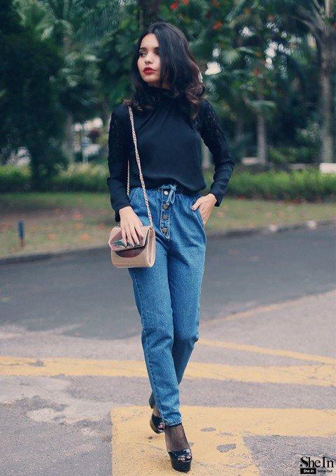 Loose Blue Jeans and a Black Turtleneck