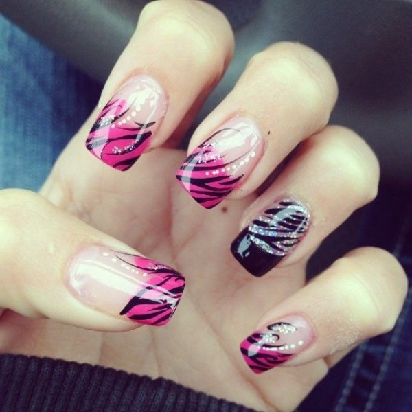 Zebra print 24 fancy nail art designs that youll love looking zebra print nail prinsesfo Images