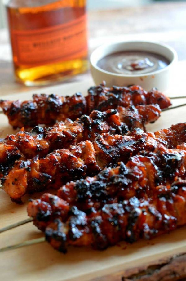 Bacon Bourbon BBQ Chicken KAbobs