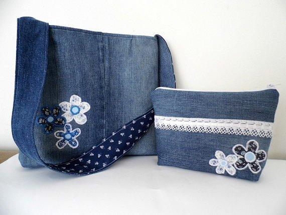 Romantic Denim Tote and Cosmetic Bag