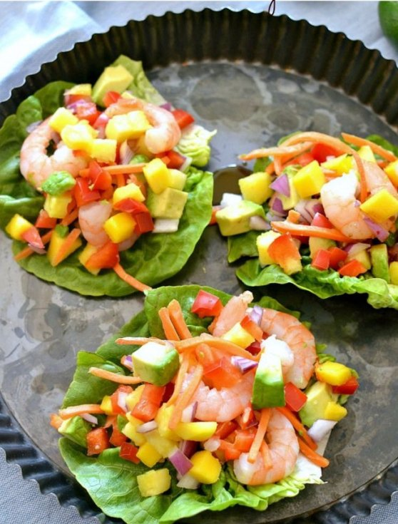 Tropical Shrimp Lettuce Wraps with Honey Lime Soyaki Sauce