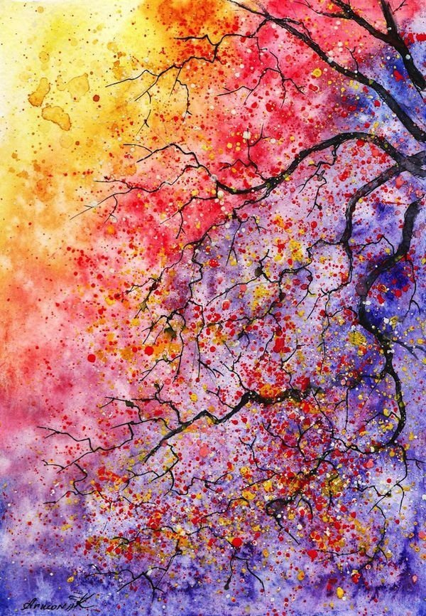 Watercolor tree 31 paintings you can copy for your own for Paintings to copy
