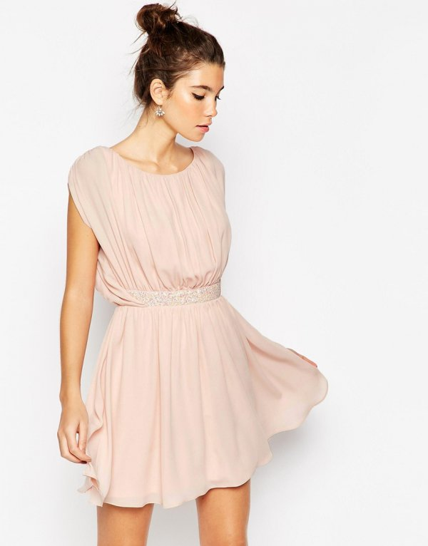 ASOS Embellished Waist Mini Skater Dress