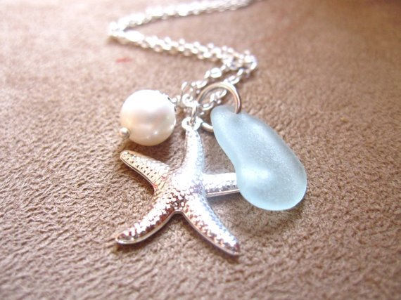 Seafoam Beachglass Necklace with Starfish & Fresh Water Pearl
