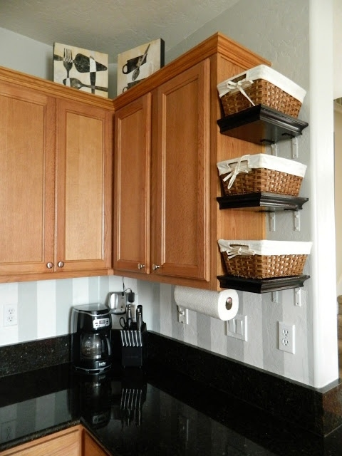 Small Shelves With Baskets Attached To Cabinets 22 Kitchen