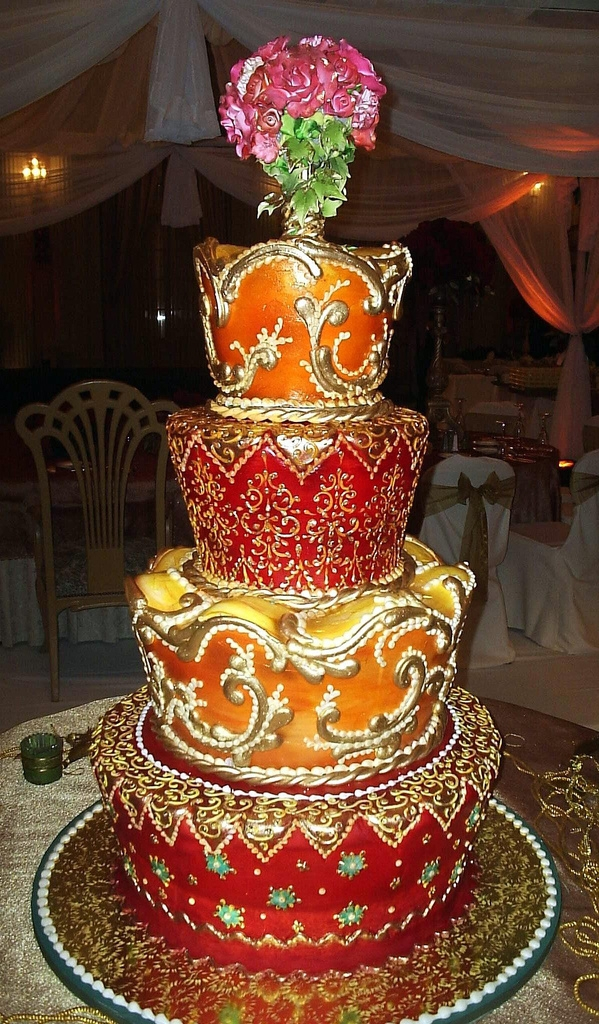 Red Orange And Gold Indian Inspired Wedding Cake