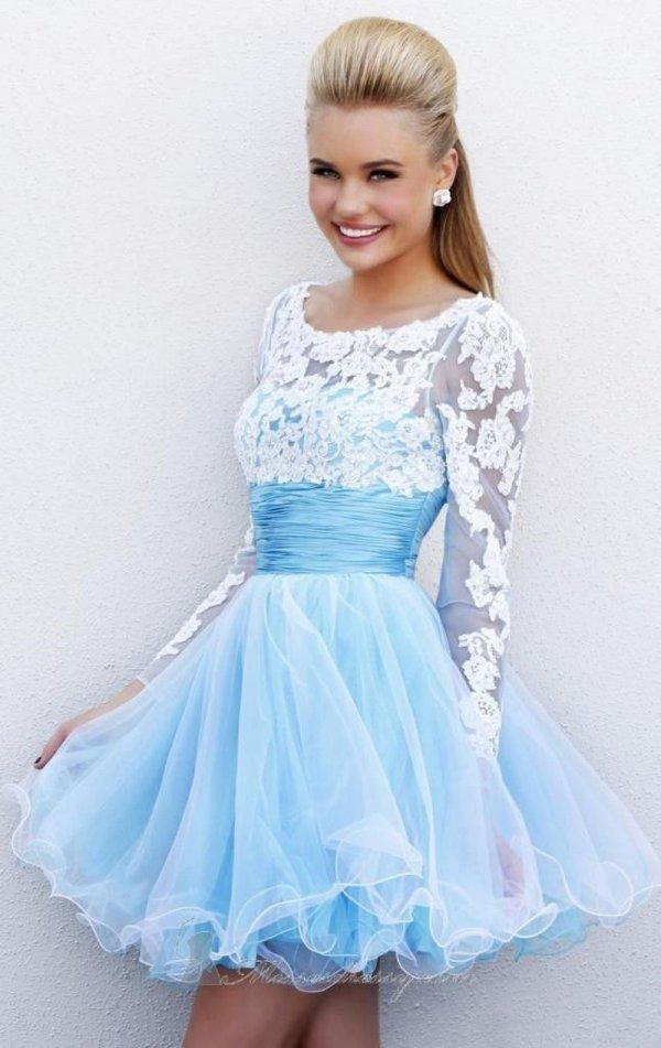 11. Baby Blue Lace - 30 Stunning Homecoming Dresses ... → 👭 Teen