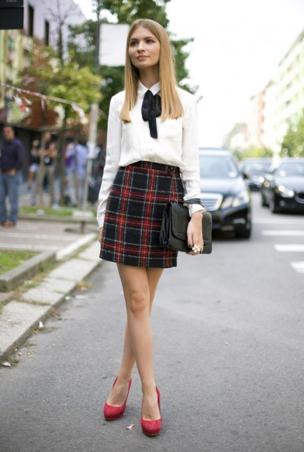 Classic Preppy with a Plaid Skirt and White Shirt
