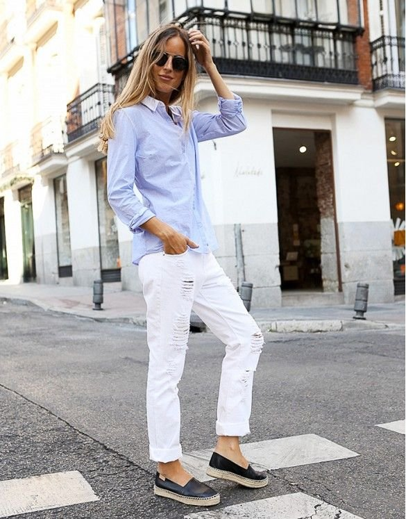 Low Maintenance = Distressed White Boyfriend Jeans, a Breezy…