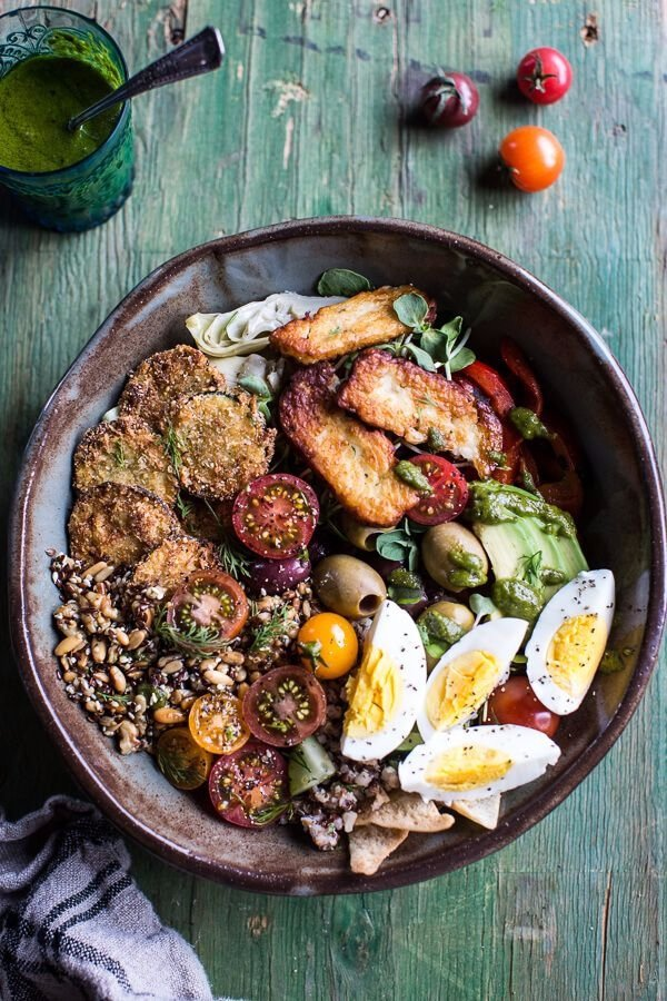 "Greek Goddess Grain Bowl with ""Fried"" Zucchini, Toasted Seeds and Fried Halloumi"