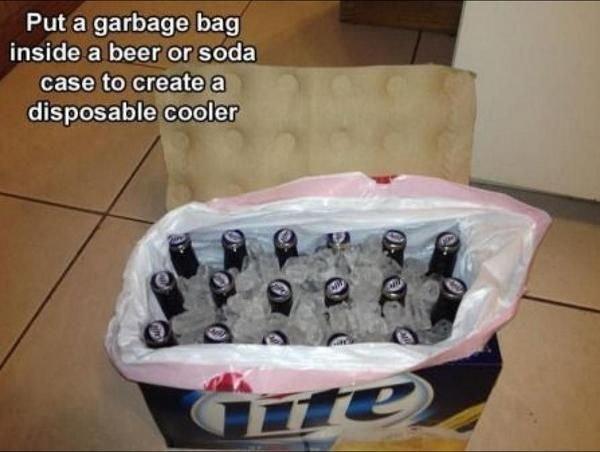 Garbage Bag + Beer Case = New Cooler