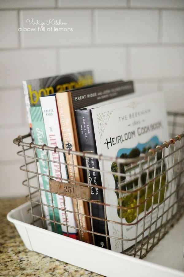 Put Cookbooks into an Antique Basket