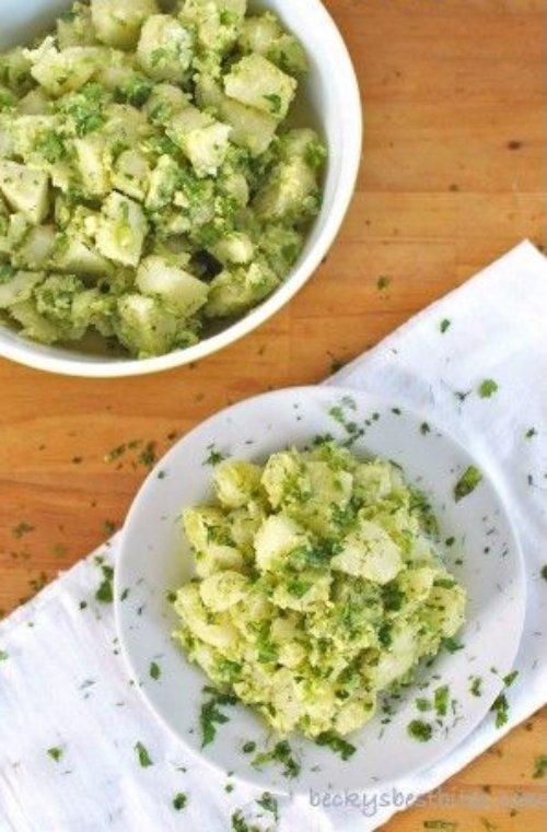 Vegan Avocado Potato Salad with Dill & Cilantro