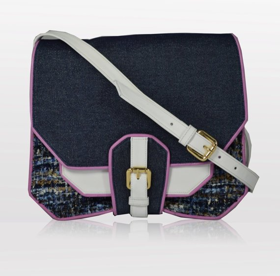 Denim and Leather Cross Body Bag with Purple Piping