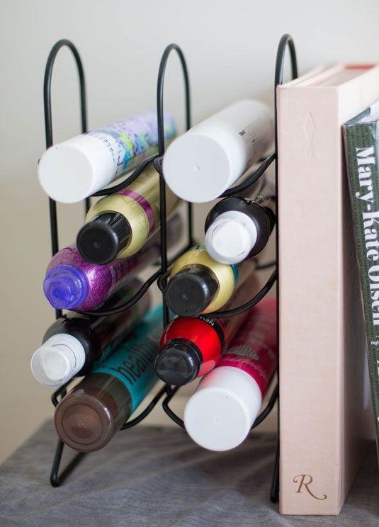 Store Hair Products in a Wine Rack