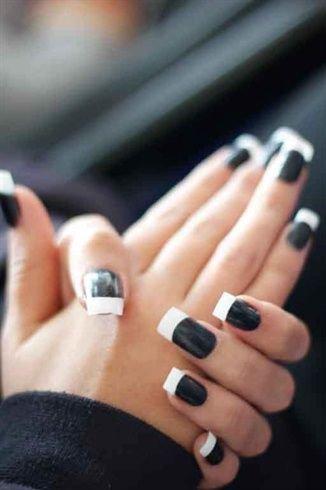 Фото ногти бело черные
