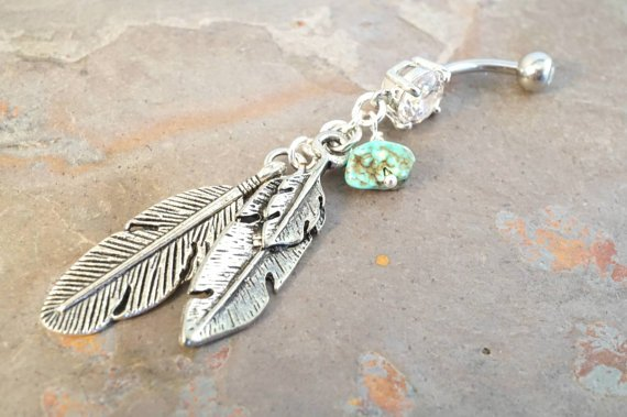 Silver Feather Turquoise Dangle Belly Button Ring