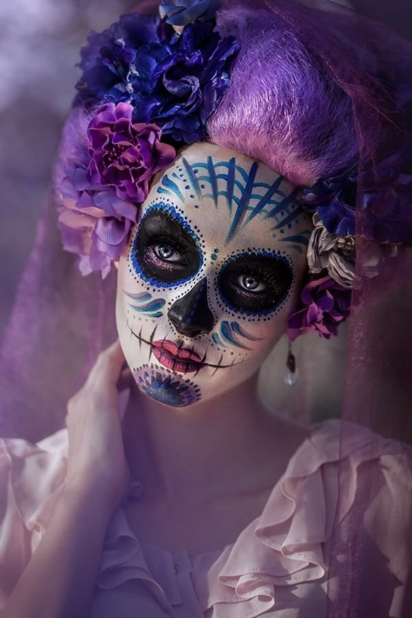 Sugar purple skull makeup photo photo