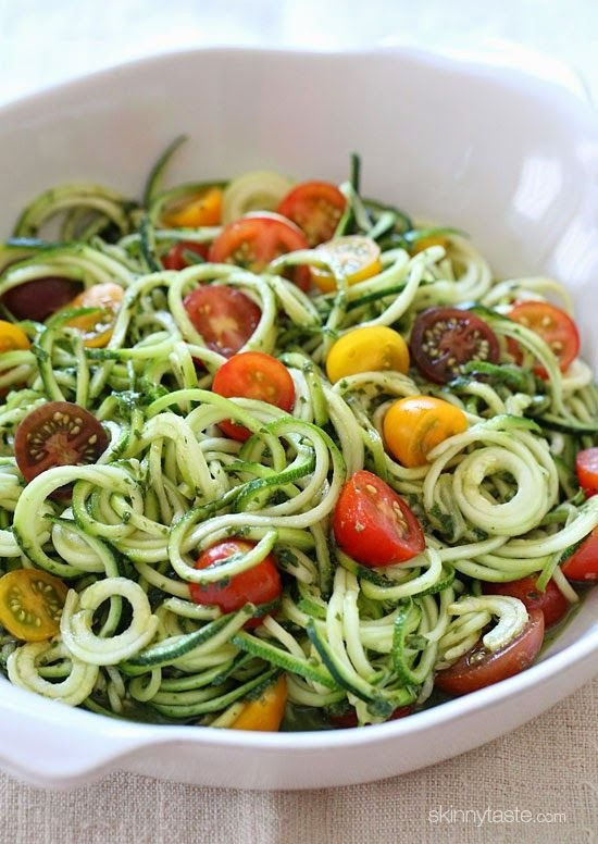 Raw Spiralized Zucchini and Pesto