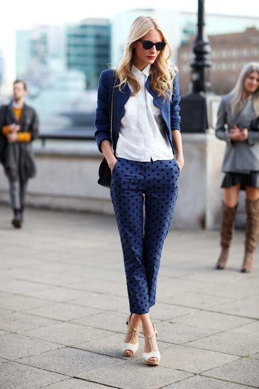 With Polka Dotted Pants and a Crop Jacket