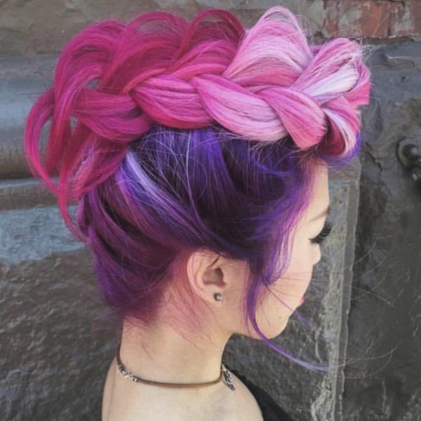 hair, pink, clothing, purple, hairstyle,