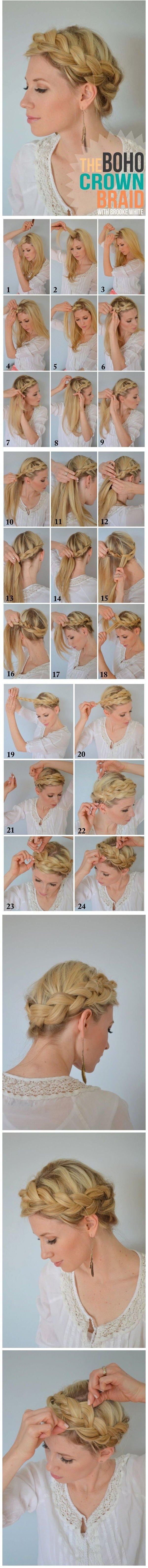 How To Make Boho Crown Braid Tutorial 37 Stunning