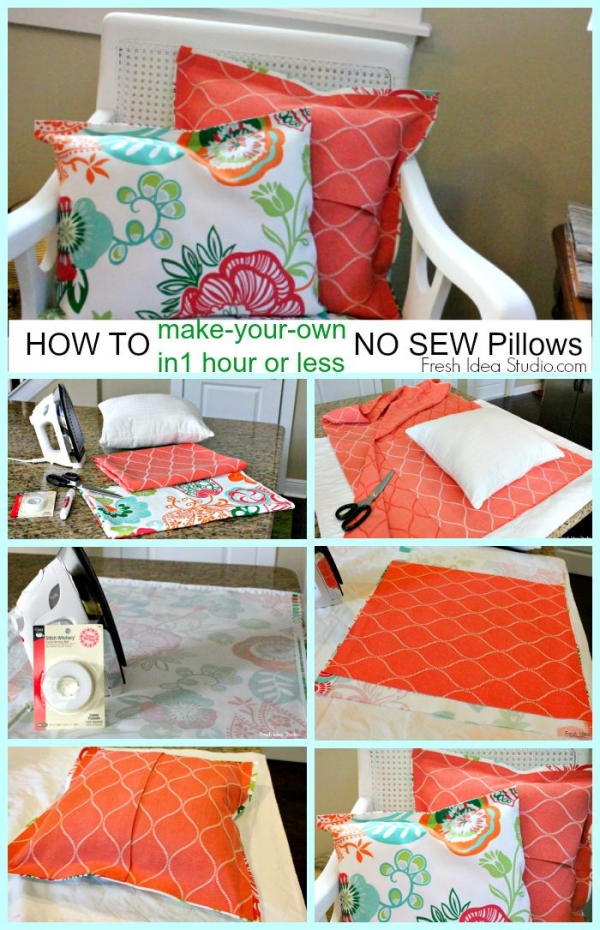 Making Throw Pillow Covers Without Sewing : 6. No Sew Pillow Cover - DIY Decorating ?? Tips That ll Turn ?? Your?