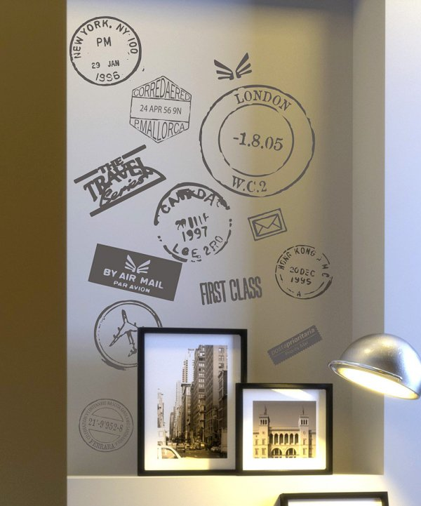 Bedroom Wall Decor Art Ideas: Travel Stamp Vinyl Wall Decals