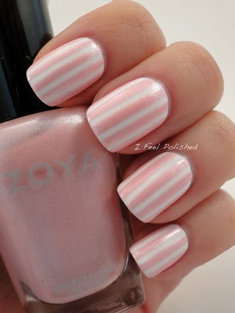 Simple and feminine this is what striped nail art looks like simple and feminine prinsesfo Image collections