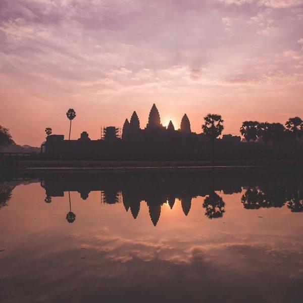 Angkor Wat, reflection, water, sky, sunrise,