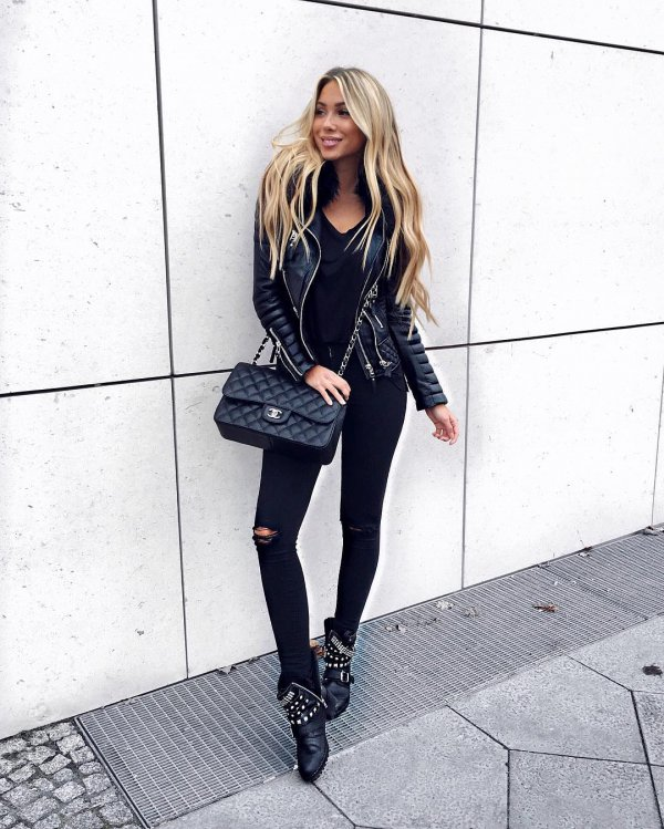 black, clothing, footwear, leather, jacket,