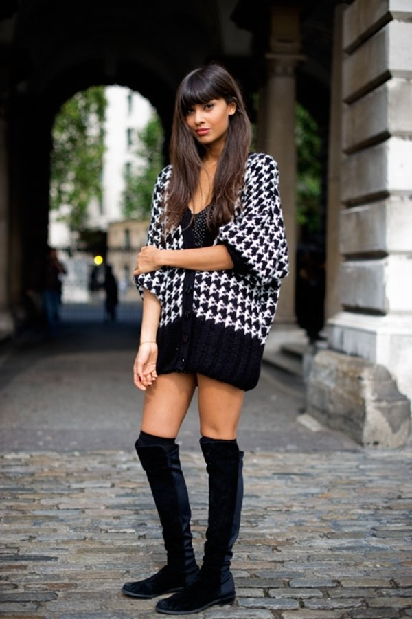 Sweater Dress And Knee High Socks Pair With Knee High Socks