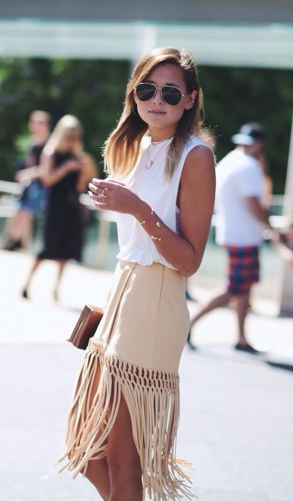 Tan Fringe Skirt with White Top