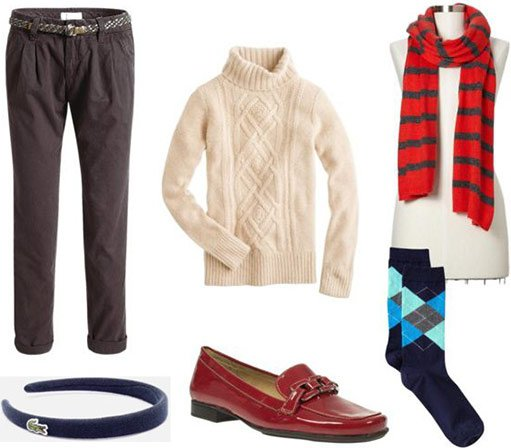 Turtleneck Sweater and Argyle Socks