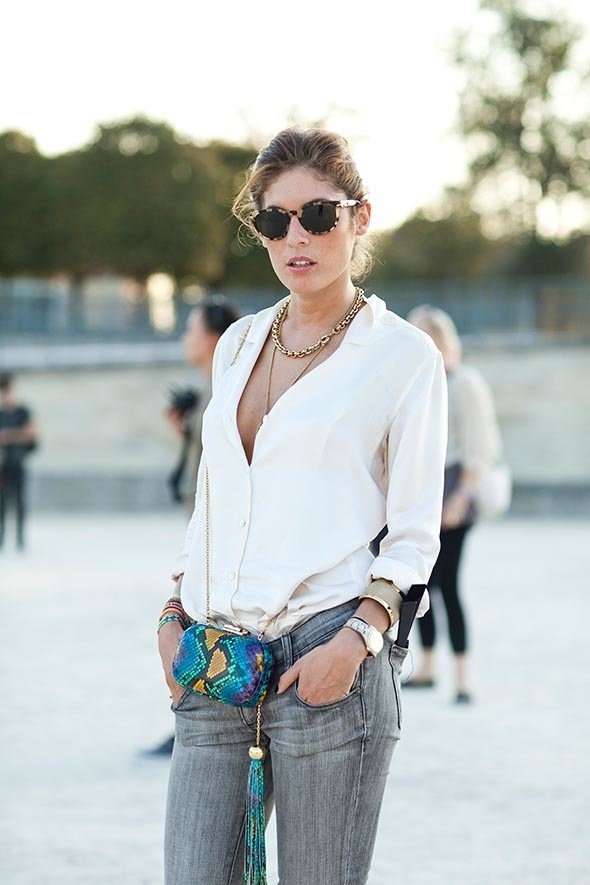 Try It with Grey Denims and a Chunky Necklace