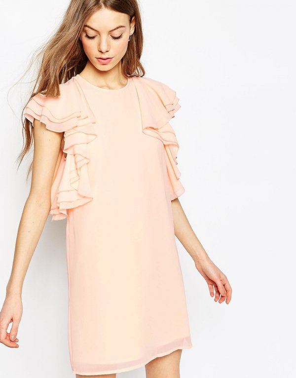 ASOS Ruffle Mini Shift Dress