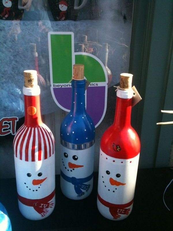 Snowman painted wine bottles 37 snowman crafts that don for Wine and painting mn