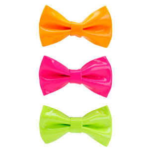 Image Gallery neon hair bows #1: 4 womens neon bow barrette set