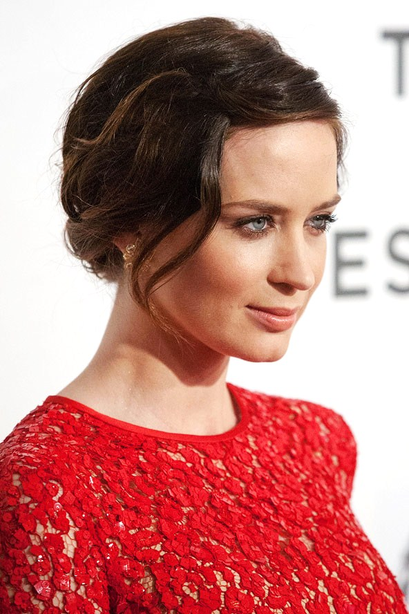 Emily S Up Cycled Furniture Tall Blue Grey Distressed Dresser: Emily Blunt's Side Swept Romantic Up-do