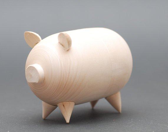 Blank Wooden Unpainted Piggy Bank