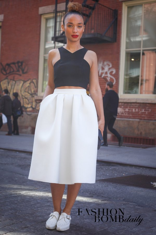 Elegant: Black Crop Top and Midi Skirt