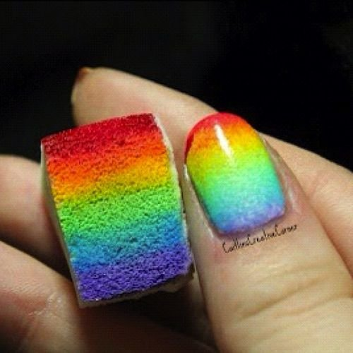 Rainbow sponge design 21 fun sponge nail art ideas for girls rainbow sponge design prinsesfo Image collections