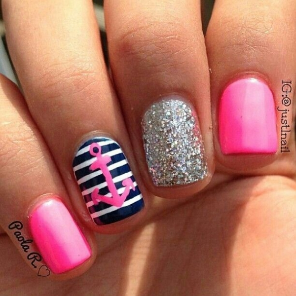 Pink Stripes And Anchor