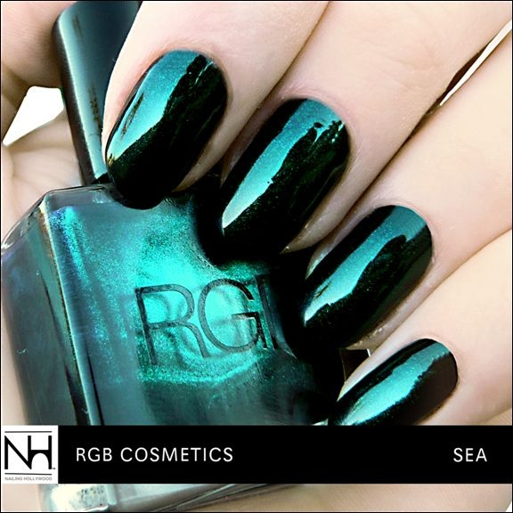 Black Base with Metallic Emerald Shimmer