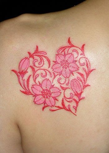 32 floral heart tattoo wear your heart on your sleeve or. Black Bedroom Furniture Sets. Home Design Ideas