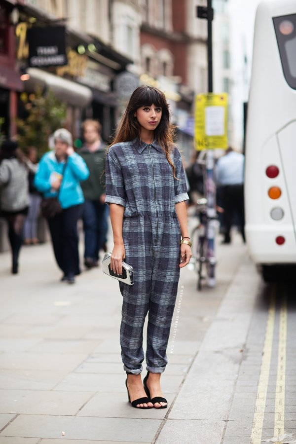 preppy plaid 9 street style ways to wear jumpsuits. Black Bedroom Furniture Sets. Home Design Ideas