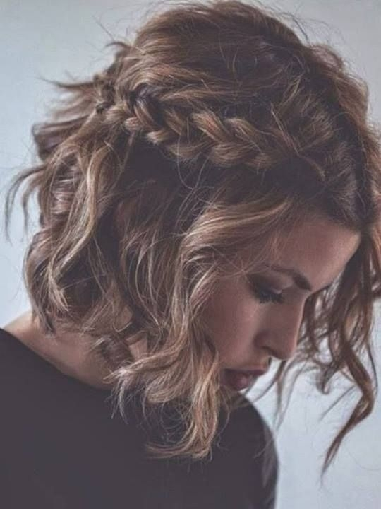 Hairstyles For Short Hair Double Crown : 29. Messy Braided Hairstyle for Short Curly Hair - 33 Romantic?