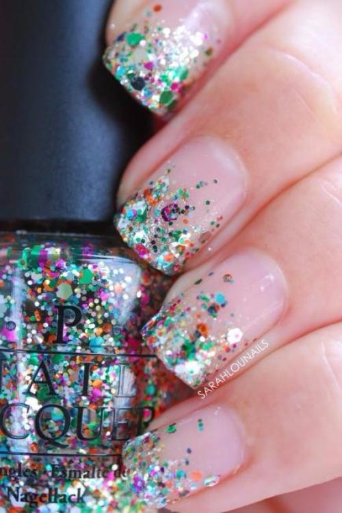 nail, finger, pink, hand, glitter,
