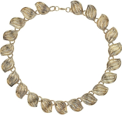 Topshop Etched Leaf Collar Necklace